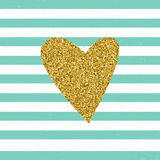 Trendy hearts color vector on striped background. Gold glittering heart confetti seamless pattern on striped background Royalty Free Stock Photography