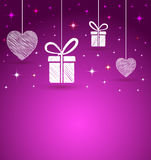 Trendy hearts and gift box shape Stock Photography
