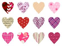 Trendy hearts pattern. Isolated on white Stock Photo