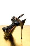 Trendy high heel black shoe Stock Photo