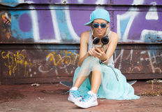 Trendy hipster girl Stock Photo