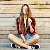 Trendy hipster girl outdoor portrait Stock Image