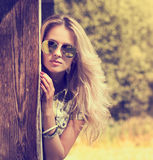 Trendy Hipster Girl on Summer Nature Background Stock Photos