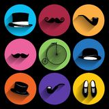 Trendy  hipster  Icons With Long Shadow Royalty Free Stock Image