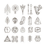 Trendy hipster linear symbols, icons and logotypes stock illustration