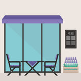 Trendy hipster restaurant terrace. table and chairs Royalty Free Stock Photo