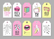 Trendy Hipster Tags with Retro Fashion Elements. Hand Drawn royalty free illustration