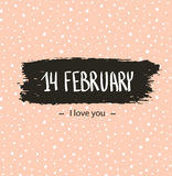 Trendy hipster Valentine Card 14 Febraury. I love you. Hand drawn backgrounds. Stock Photography