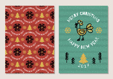 Trendy Holiday postcard Merry Christmas and Happy New Year 2017. Cute hand-drawn rooster, Christmas tree, seamless pattern of snowflakes, gold elements. Ultra Royalty Free Stock Photo
