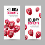 Trendy Holiday Sale Discount Banners set with Red Baloons and discounts Royalty Free Stock Photos