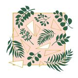 Trendy illustration of exotic leaves and golden triangles on the pink background. stock illustration