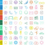 Icons set - Trendy illustration for web and print. Trendy illustration of web icons set for business  - fine line with soft colors in vector format Stock Images