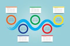 Trendy infographic labels as drawn blue wave. Showing process and colorful circular frames and blank rectangles. All is ready for your text vector illustration