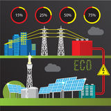 Trendy infographics set. All types of power plants. Royalty Free Stock Images
