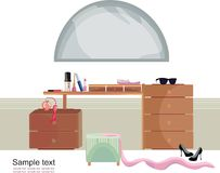 Trendy interior. Vector illustration of the interior of the girls bedroom Royalty Free Stock Image