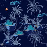 Trendy Island and palm trees hand drawing sketch line in seamles. S pattern vectoe for fashion fabric and all prints on navy blue background Royalty Free Stock Photos