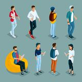 Isometric Young Creative People, Students royalty free illustration