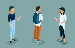 Isometric Young Creative People, Students vector illustration