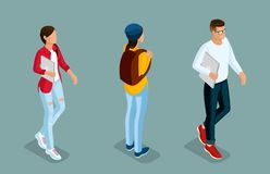 Isometric Young Creative People, Students stock illustration