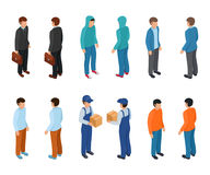 Trendy isometric young creative people with businessman, freelancers, delivery courier and ordinary people. stock illustration