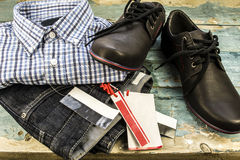 Trendy jeans and shoes, shirt Stock Images