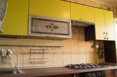 Trendy kitchen design. Olive and ebony Stock Photography