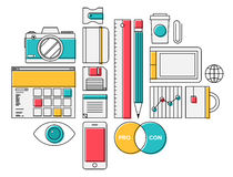 Trendy lifestyle office object icons vector illustration