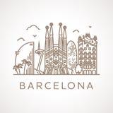 Trendy line-art illustration of Barcelona. Stock Photos