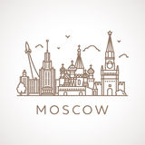Trendy line-art illustration of Moscow. Royalty Free Stock Photo