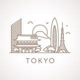 Trendy line-art illustration of Tokyo. Royalty Free Stock Photos