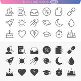 Trendy line icons. Icon set for web and mobile. Normal and enable state Royalty Free Stock Images