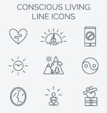 Trendy line icons set of conscious living. Royalty Free Stock Photo