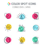 Trendy line icons set of conscious living. Stock Images