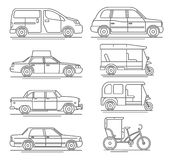 Trendy linear taxi transport icons Royalty Free Stock Photo