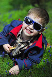 Trendy little boy with glasses Royalty Free Stock Photo