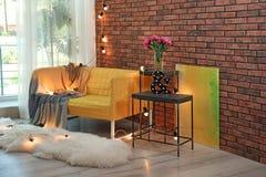 Trendy living room interior with sofa. Trendy living room interior with comfortable sofa Stock Photo