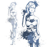 Trendy look girl with color splashes Royalty Free Stock Image