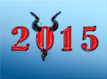 2015  Trendy look year of the goat with horns and goatee. Stock Image