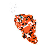 Trendy Low-Poly Style Cartoon Red Sea Clownfish. 3d Rendering Stock Image