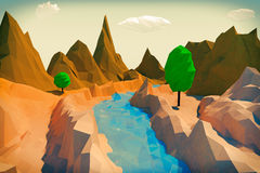 Trendy Low Polygons Style Landscape. 3d Rendering Stock Photo