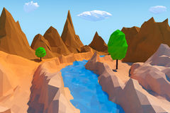 Trendy Low Polygons Style Landscape. 3d Rendering Stock Photos