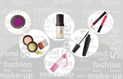 Trendy make-uo. Vector drawing of the fashion cosmetic Stock Images