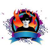 Trendy man in flames. Vector illustration of young trendy man over grunge splats with flames Stock Photography