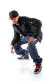 Trendy man hip hop dancing. Trendy young black African American man hip hop dancing, white background Stock Photos