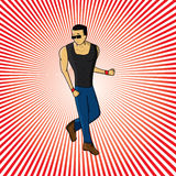 Trendy man illustration. Vector illustration of a trendy man on a striped background Stock Image