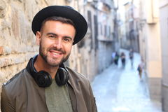 Trendy man outdoors in the city.  stock photo