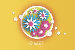 Trendy 8 March. Origami Happy Women`s Day. Floral Greeting Card. Paper cut Pink Blue Flowers. Circle frame. Text. Spring. Blossom. Seasonal holiday on yellow Royalty Free Illustration