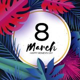 Trendy 8 March. Tropical palm leaves, plants. Paper cut style. Exotic Hawaiian holidays. Space for text. Circle frame. Happy Women s Day. 8 March. Mother s Day royalty free illustration