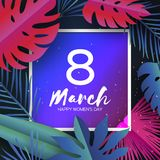 Trendy 8 March. Tropical palm leaves, plants. Paper cut style. Exotic Hawaiian holidays. Space for text. Square frame. Happy Women`s Day. 8 March. Mother`s Day stock illustration