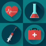 Trendy medical icons with shadow. Flat design style. Trendy flat medical icons with shadow. Vector elements injector, heart cardiogram, First aid case and blood Stock Photo